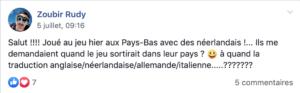 Message d'un contributeur Ulule qui a joué au jeu Les Gens Qui aux Pays Bas