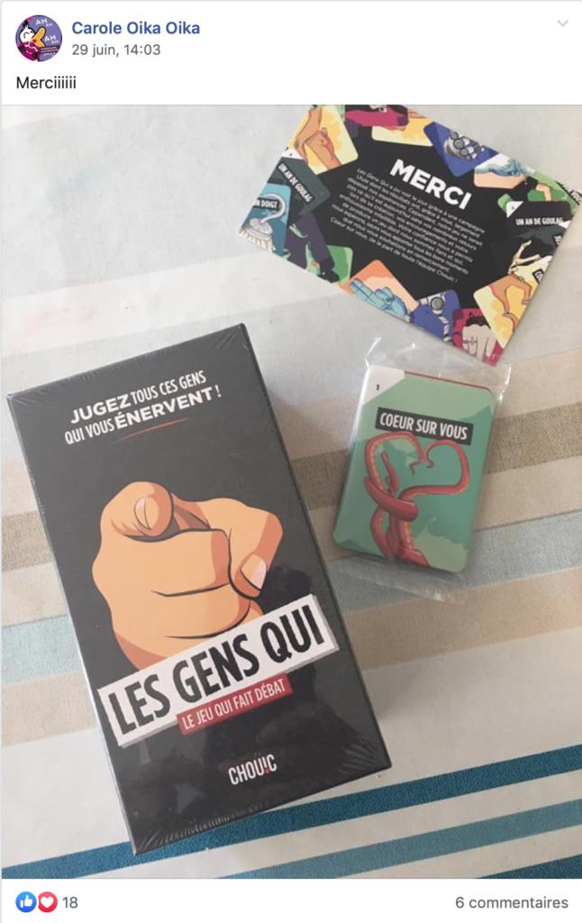 Photo du contenu du colis reçu par un contributeur Ulule contenant le jeu Les Gens Qui
