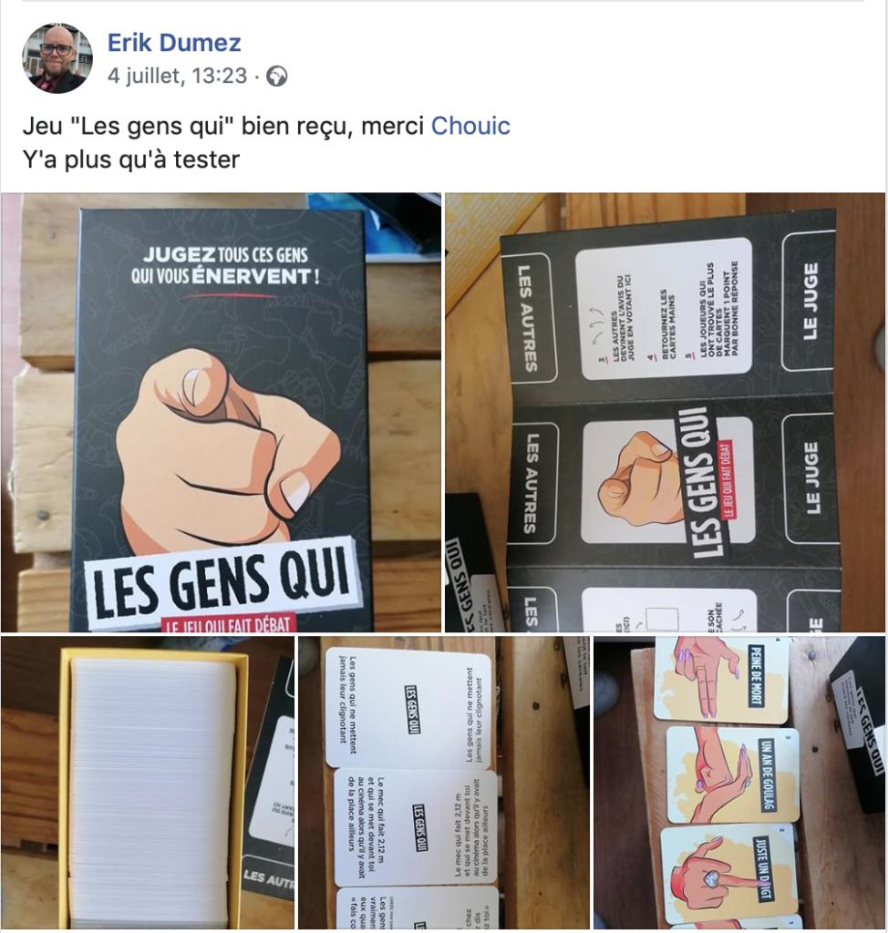 Photos du déballage de la boite Les Gens Qui reçue par un contributeur Ulule