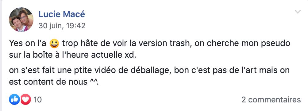 Un message d'un contributeur Ulule impatient de recevoir l'extention trash du jeu Les Gens Qui