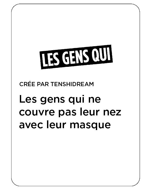 Carte Les Gens Qui : masque sous le nez